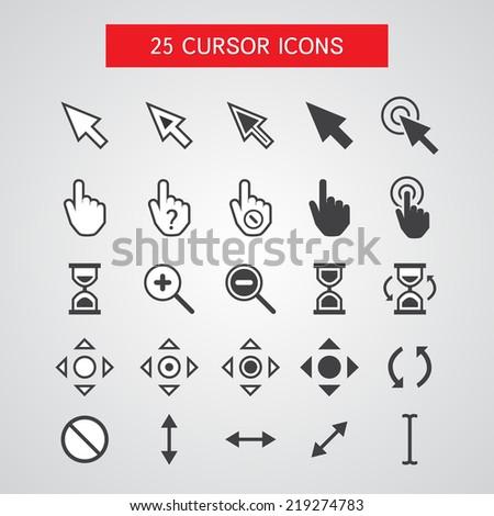 Vector Cursor Icons Set On White Background - stock photo
