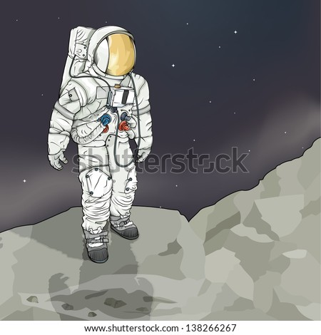Vector Drawing of a astronaut/ Astronaut/ Vector drawing of an astronaut, easy to edit layers, space suit matches original from apollo mission, mesh only used in the background layer, no gradient used - stock photo