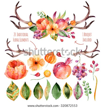 Vector floral set.Colorful purple floral collection with leaves,horns and flowers,drawing watercolor+colorful floral bouquet with leaves, horns and flowers.Set of floral elements for your compositions - stock photo