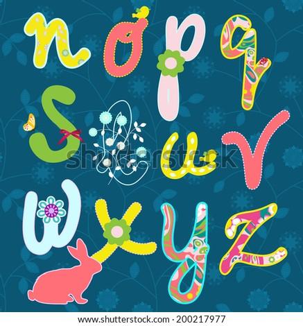 Vector flower font. Hand drawn alphabet.  Raster version. - stock photo