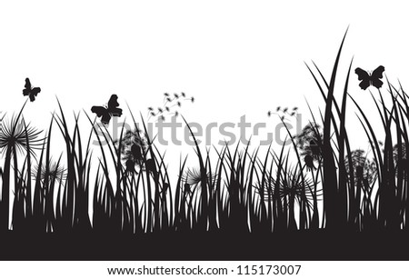 vector grass silhouette background - stock photo