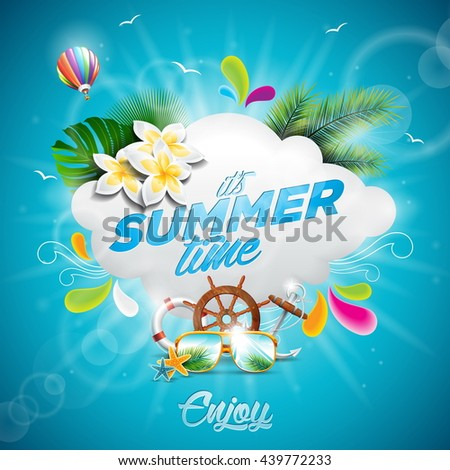 Vector Hello Summer Holiday typographic illustration with tropical plants, flower and hot air balloon on blue background. JPG version. - stock photo