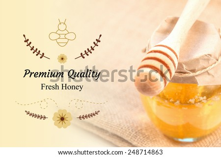 Vector Honey Bee Labels And Symbols On Honey Jar And Wooden Stick Image Background - stock photo