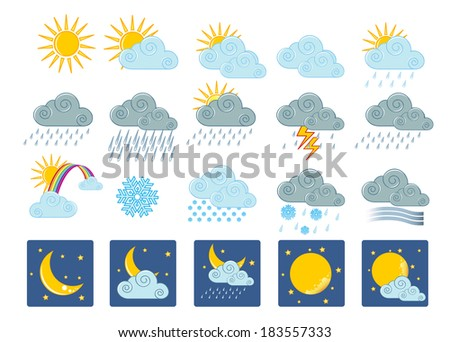 Vector illustration (eps 10) of 20 weather icons - stock photo