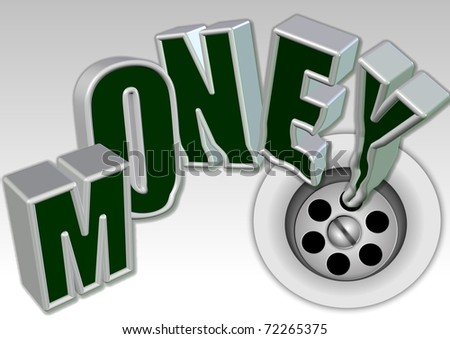 Vector illustration of a business idiom money down the drain / Money down the drain / - stock photo