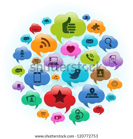 Vector Illustration of a social media applications in cloud thought bubbles. EPS 10 no transparencies. - stock photo