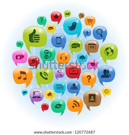 Vector Illustration of a social media icons in talk bubbles. EPS 10 with transparencies. - stock photo