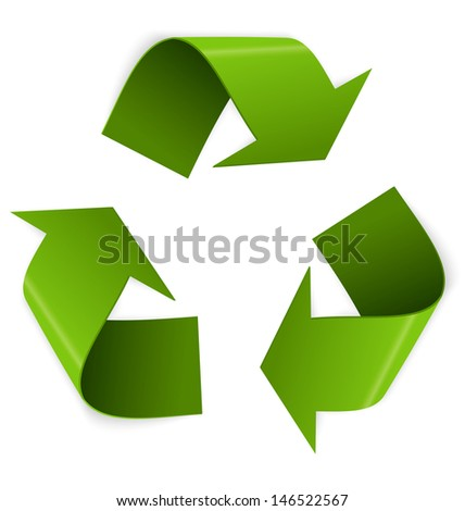 Vector illustration of 3d recycling symbol isolated on white  - stock photo
