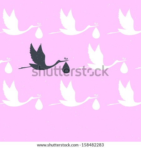 Vector illustration of It's a girl! - stock photo