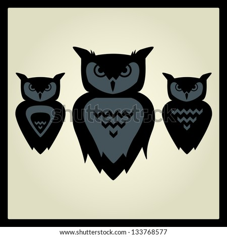 Vector Illustration of owls. For High Quality Graphic Projects. - stock photo