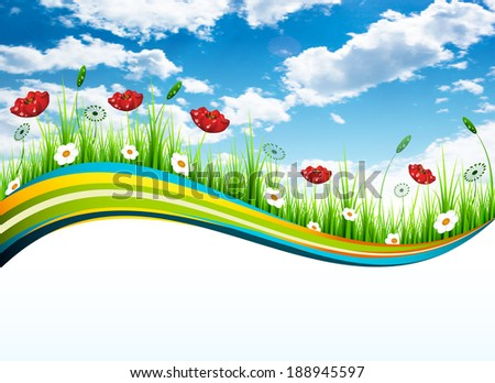 Vector illustration of spring banners.  - stock photo