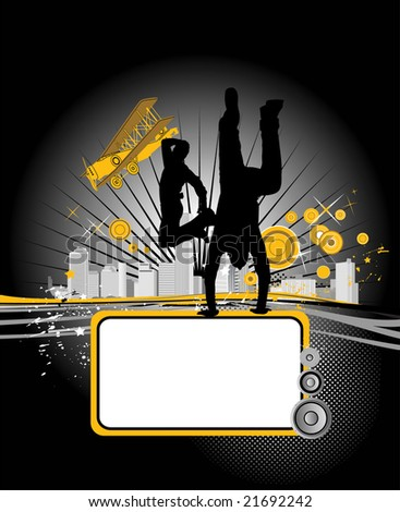 Vector illustration with dancing youth men. Music city - stock photo