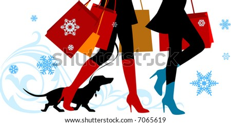 Vector illustration, woman sexy legs with bags.Christmas shopping - stock photo