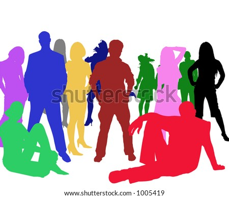 vector image of multicolored people - stock photo