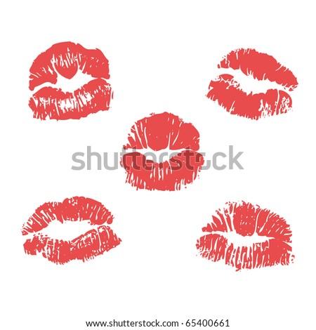 vector lipstick marks  illustration - stock photo