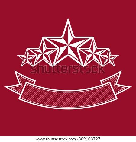 Vector monarch symbol. Festive graphic emblem with five pentagonal stars and curvy ribbon, decorative luxury template. Success concept theme design element. - stock photo