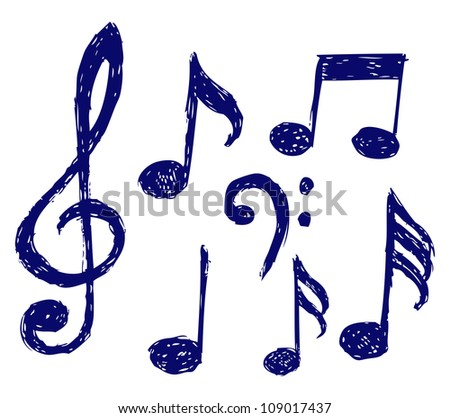 Vector musical notes. Raster - stock photo