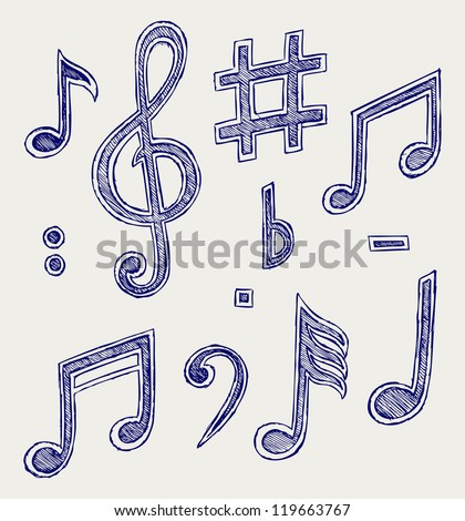 Vector musical notes. Raster version - stock photo