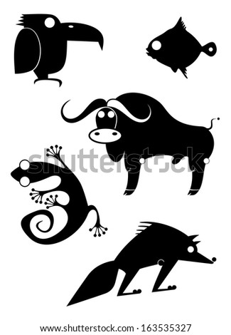 Vector original art animal silhouettes collection for design  - stock photo