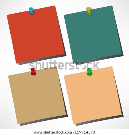vector paper notes with push pin - stock photo