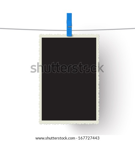 Vector photo hanging on a line isolated on white background. Raster version illustration. - stock photo