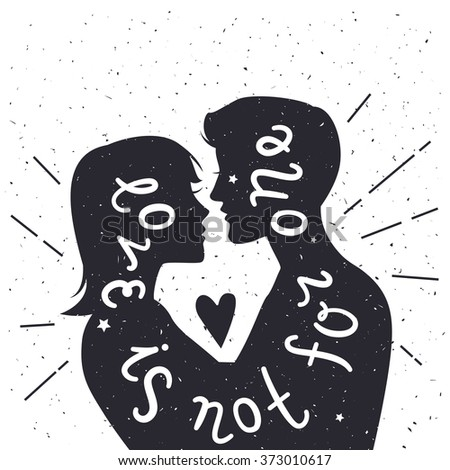 Vector romantic hand lettering typography poster with text - love you. Man and woman silhouettes. Cute Valentines day greeting card.  Inspiration and motivation vintage style illustration with text. - stock photo