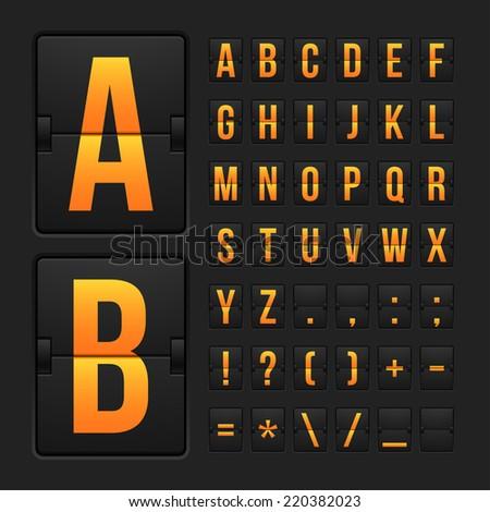 Vector scoreboard letters and symbols alphabet mechanical panel - stock photo