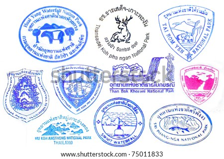 Vector series of national parks in southern Thailand traveling stamps - stock photo