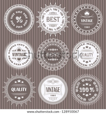 Vector set of round labels - stock photo