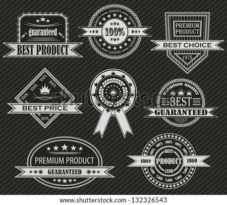Vector set. Vintage labels. Striped background - stock photo