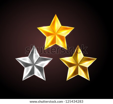 Vector shiny stars: golden, silver and bronze - raster version - stock photo