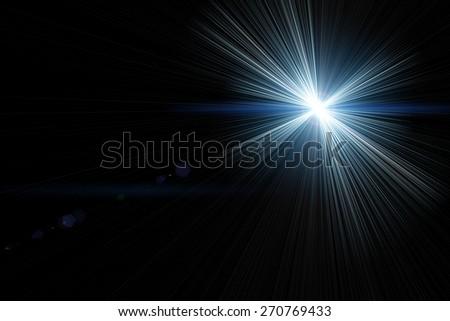 Vector star, sun with lens flare on dark background - stock photo