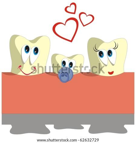 Vector. Tooth cartoon set 005 - stock photo