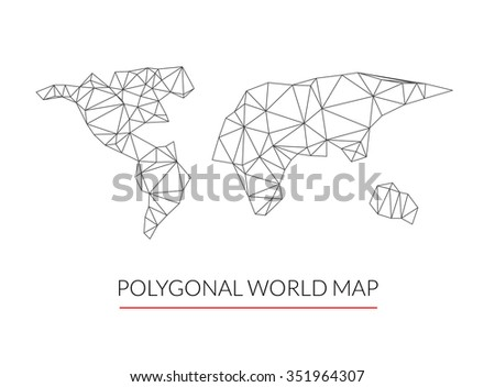 Vector World map background in polygonal line 3d style. Modern infographics. World Map travel comunication concept - stock photo