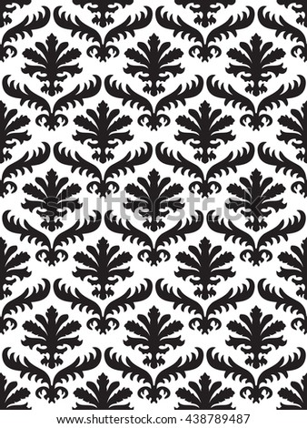 Vector wrapping leaves damask seamless floral pattern background for website, wallpaper, repeating foliage floral western damask flower organic, white drapery luxury tiled decor old revival venetian  - stock photo