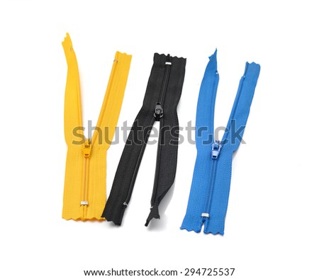 Vector zipper flat illustration set - stock photo
