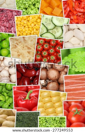 Vegan and vegetarian vegetables background with tomatoes, paprika, lettuce, potatoes, beans and cucumber - stock photo