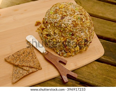 Vegan cheese ball with tortilla chips - stock photo