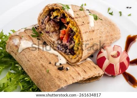 vegan hamburger - stock photo