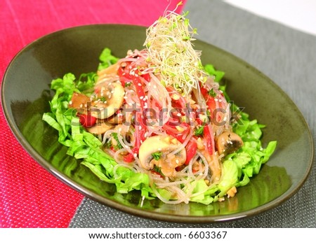 Vegan salad with thai noodles - stock photo