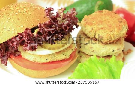 Vegan sea burger closeup background - stock photo