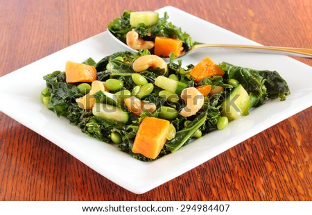 Vegan spinach salad - stock photo