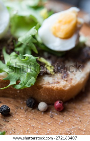 Vegan toast with egg/selective focus - stock photo