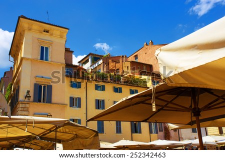 vegetable and flower market in Campo de' Fiori. Rome. Italy. - stock photo