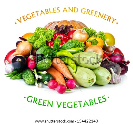 vegetable and greenery isolated on a white background - stock photo