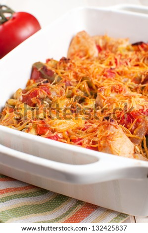 Vegetable and turkey or chicken casserole vertical - stock photo
