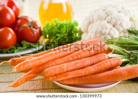 vegetable background. Fresh carrot. - stock photo