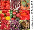 vegetable collage, images from italian farmers market, Italy - stock photo