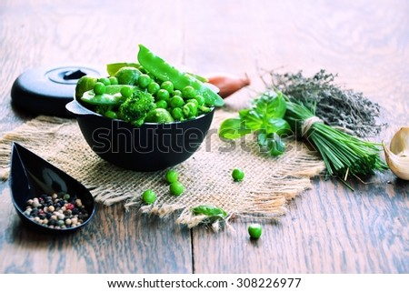 vegetable dishes with aromatic herbs and spices, organic food - stock photo