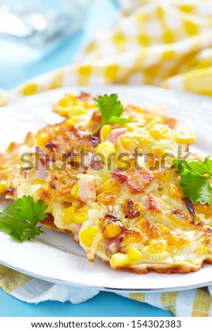 Vegetable Fritters with Ham - stock photo